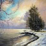 Зимний пейзаж, 61х75, двп, масло, 2010