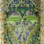 Африканская маска с деревянными бусинами 24х33 хлопок