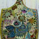 Белая и голубая птицы 23х39 гуашь золото лак 1997г
