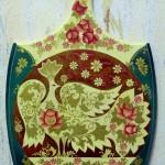 Белая птица и пурпурные цветы 23х39 масло золото лак 1994
