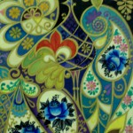 Декоративная птица с голубыми цветами 15х26 анилин акварель