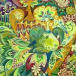 Декоративные цветы и птицы 21х42 акварель темпера лак 1996г