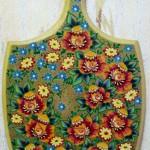Декоративные цветы 23х39 гуашь бронза лак 1994г Рыбинск