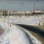 Зима в Рыбинске 31х77 холст на ДВП масло