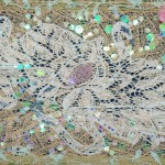 Лебеди 33х54 декоративное панно хлопок акрил люрекс органза