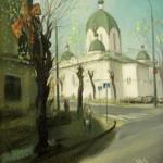 Сретенская церковь 31х35 холст на ДВП масло