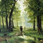 С картины И.И. Шишкина -Дождь в дубовом лесу, 77х110, х.м., 2011