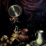 Фрагмент картины А. де Переда -Натюрморт с часами- ,30х40, х.м.