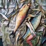 Рыбы 59х78 холст на картоне, масло, 2009