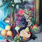 Цветы и фрукты 49х77 холст на картоне, масло, 2009