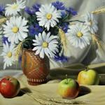 Цветы и яблоки 35х50 холст на картоне, масло