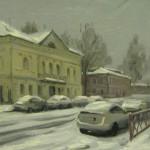Снежный февраль в Рыбинске, ул. Чкалова, 20х30, к/м, 2014