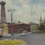 Пожарная каланча. Рыбинск. 24х18, х/к, масло, сент.2013