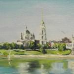 Рыбинск с Волги, 20х40, х/к, масло, 2011