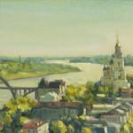 Панорама Рыбинска, 20х40, х/к, масло, 2012