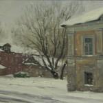 Рыбинск. ул. Чкалова. Снег идёт. 20х30, к/м,февраль 2014г.