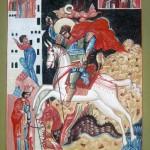 Чудо Георгия о Змие, с преподобным Зосимой Палестинским, Флором и Лавром 40х25 доска, яичная темпера 2009