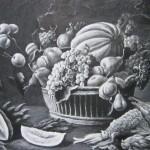 Натюрморт с фруктами и дичью, 85х65, бумага, тушь, перо