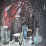 Стекло и керамика, 60х85, бумага, цветная тушь, перо